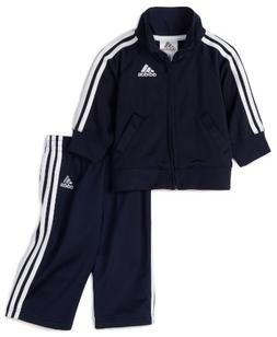 adidas Baby Boys' Iconic Tricot Jacket and Pant Set, Navy/Wh