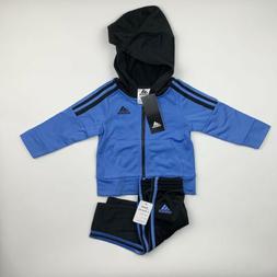 BABY BOYS: Adidas Tricot Jacket & Pants Set, Blue & Black -