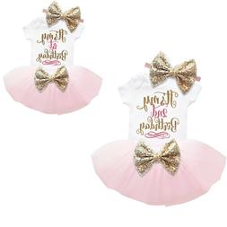Baby Girl 1st 2nd Birthday Dress Cake Smash Outfit Sets Pink