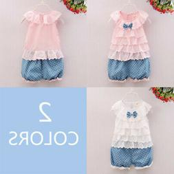 Baby Girls Casual Sleeveless Lace Floral Tops +Polka Shorts