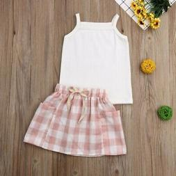 Baby Girls Casual Sleeveless Strap  Skirts Suits Costume Set