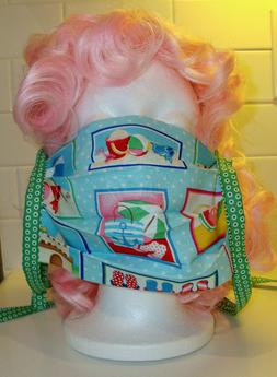 Beach Themed Flip-Flops Bathing Suits Face Mask Reversible w