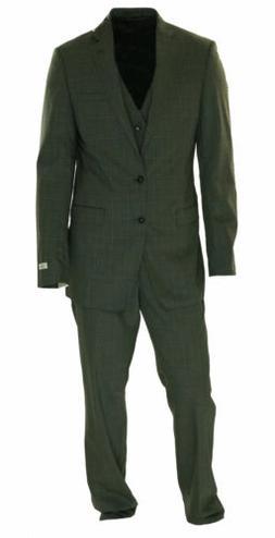 Calvin Klein Big & Tall Slim Fit Windopane Plaid Vested Suit