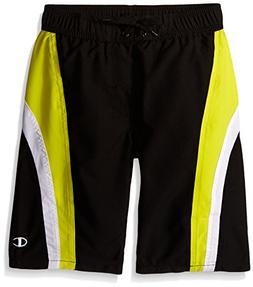 Champion Big Boys Dual Stripe Swim Short, Black/Acid, X-Larg