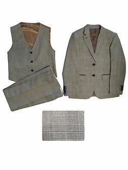 Perry Ellis Big Boys Heather Gray Plaid Jacket Vest Pants 3