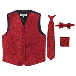Gioberti Big Boys Red Paisley Tuxedo Vest Bowtie Tie Pocket