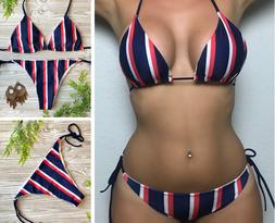Bikini Swimsuit Women Sexy Bathing Stripes Beach Set Padded
