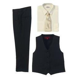 Gioberti Ivory Black Vest Pants Striped Tie Shirt 4 Pc Forma