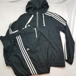 Adidas Black White Track Suit Large Jacket Pants Joggers