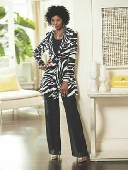 Ashro Black White Zebra Formal Dress Cruise Church Pant Suit