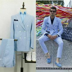 Blue Men Suits Striped Formal Business Party Work Wear Doubl