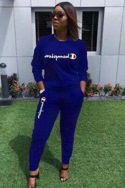 Blue Women's Champion Track Suit Set Long Sleeve Two-piece