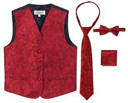 Gioberti Boy's 4 Piece Formal Paisley Vest Set, Red, Size 2-