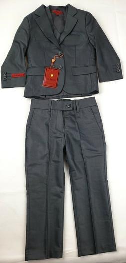 Gioberti Boy's Formal 3 Piece Suit Set, Charcoal, Size 4T NE