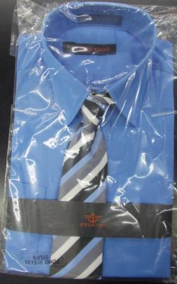 Boys Dockers $30 Placid Blue Dress Shirt w/ Striped Clip-On