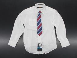 Boys Dockers $30 White Dress Shirt w/ Striped Clip-On Tie Si