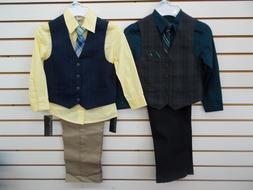 Boys Van Heusen $50 4pc Deep Water or Yellow Vest Suits Size