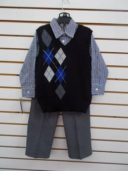 Boys Dockers $52 3pc Black, Gray, & Blue Sweater Vest Suit S