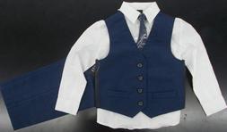 Boys Van Heusen $54 4pc Navy & White Vest Suit Size 4 - 12