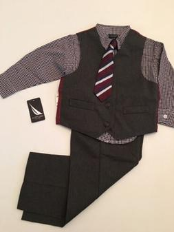 boys charcoal grey gray 4 piece vest