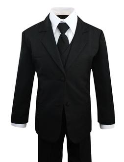Boys Formal Black Suit 5 Pieces Set Toddler Size 2T to 14