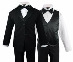 Boys Formal Tuxedo Suit 5 Pieces Set Set Wedding Party Toddl