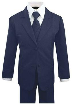 Boys Kid Toddler Formal Navy Blue Suit 5 pieces Set with Ves