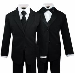 Boys Kids Children Formal Dress Black Suit Tuxedo Toddler 2T