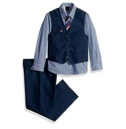 Van Heusen Boys' Little 4-Piece Formal Vest Set, Blue, 6 **W