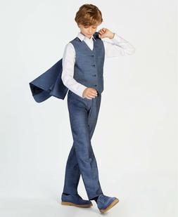 Calvin Klein Boys Size 20R Plain Weave Blue Stretch Dress Su