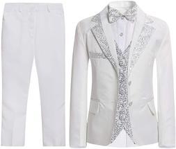 Swotgdoby Boys Slim Fit Suits 5 Pieces Blazer Vest Shirt Pan