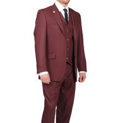 brand new burgundy 3 piece suit suit