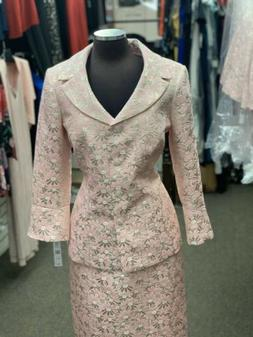 JOHN MEYER BROCADE SKIRT SUIT/PINK/GOLD/NEW WITH TAG/SIZE 16