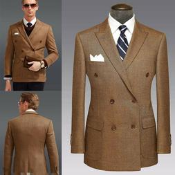brown formal men suits tweed double brested