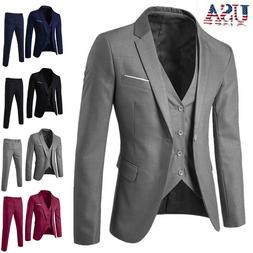 Business Men's Suit Slim 3-Piece Suit Blazer Wedding Party