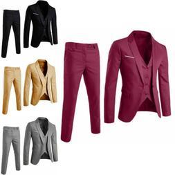 Business Slim Blazer Wedding Jacket Suit Men's & 3-Piece V