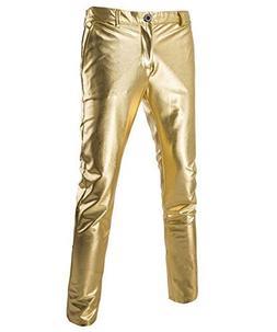 Boyland Mens Casual Night Club Metallic Moto Jeans Style Fla