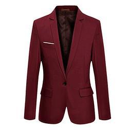 Vobaga Men's Casual One Button Jacket Blazers Wine Red XXXL