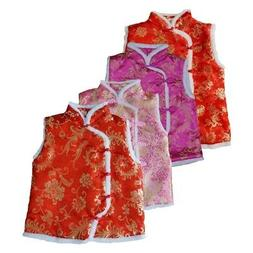 Chinese Style Tang Suit Vest Jacket Kids Girls Embroidery Re