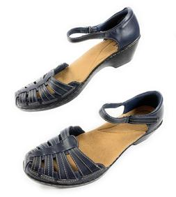 Clarks Collection Wendy Suite Navy Blue Leather Ankle Strap