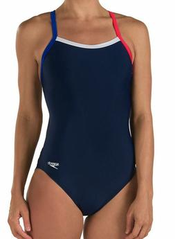 SPEEDO Colorblock Flyback Navy Blue Red White Swim Suit Wome