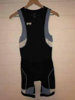 TYR Competitor Mens Medium Triathlon Suit Black/Gray Front Z
