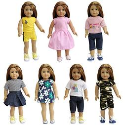 """ZITA ELEMENT 7 Sets American 18 Inch Girl Doll Clothes 