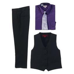 Gioberti Dark Purple Black Vest Pants Striped Tie Shirt 4 Pc