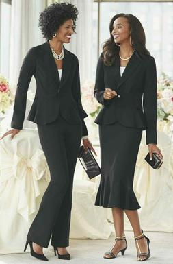 Ashro Denai Wardrober Black Pant Skirt Suit 6 8 10 14 16 16W