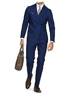 Double Brested Blue Mens Suits 3 Pieces Notch Lapel Groom Tu