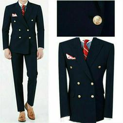 Double Brested Navy Men Suits Formal Wedding Groom Tuxedos O
