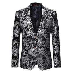 Cloudstyle Men's Dress Floral Suit Notched Lapel Slim Fit St