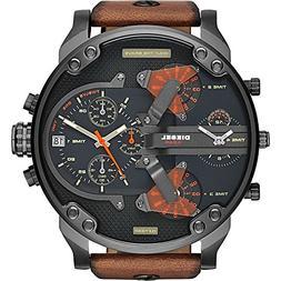 Diesel Men's DZ7332 Mr Daddy 2.0 Gunmetal Brown Leather Watc