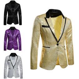 Fashion Mens Sequins Suit Coat Casual Slim Formal One Button